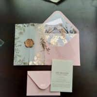 Chic Personalised Translucent Vellum Gold Floral Wedding Invitations with Acrylic Invitation Card