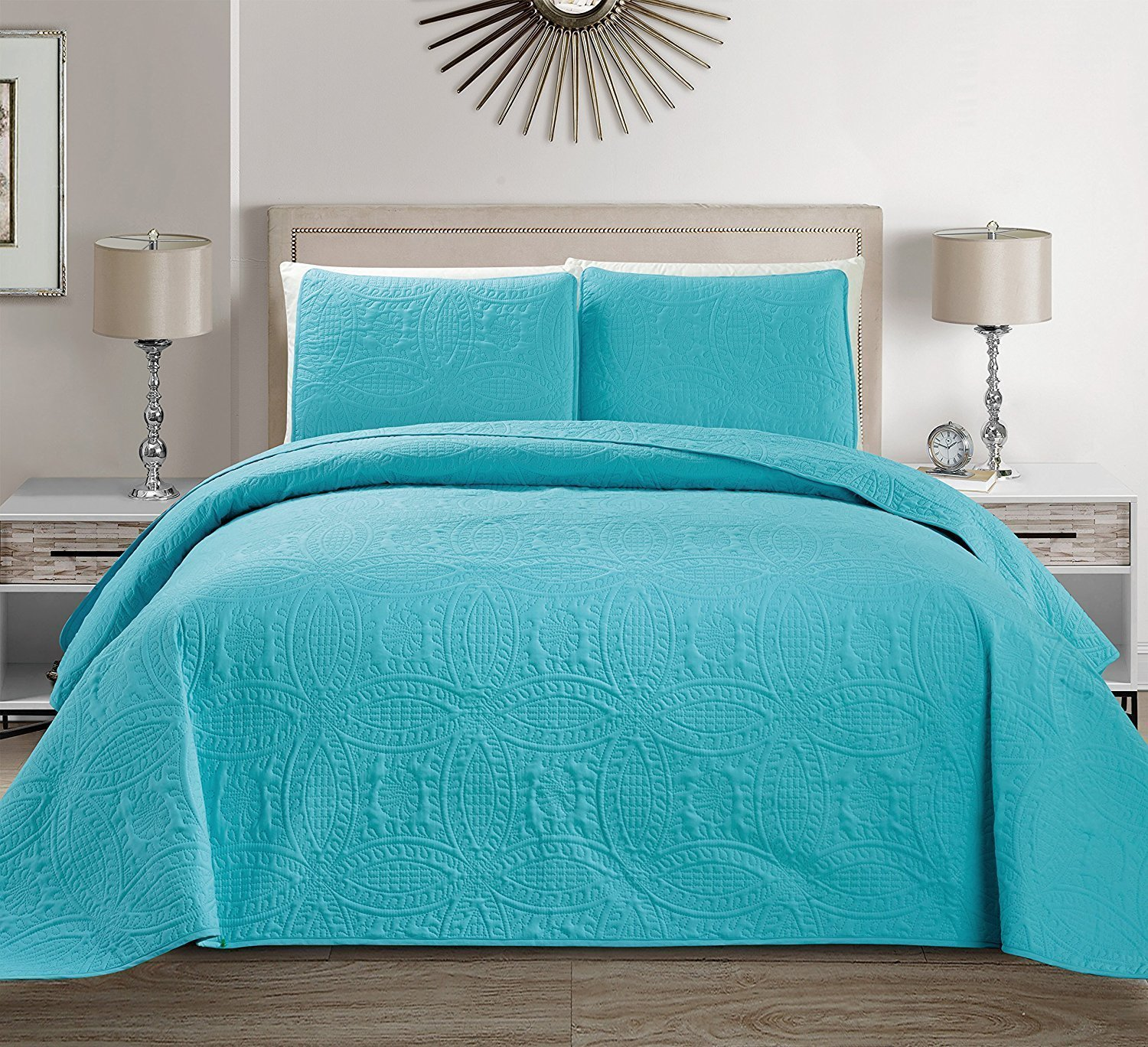 Fancy Collection 3pc King/California King Embossed Oversized Coverlet Bedspread Set Solid Turquoise/Baby Blue New