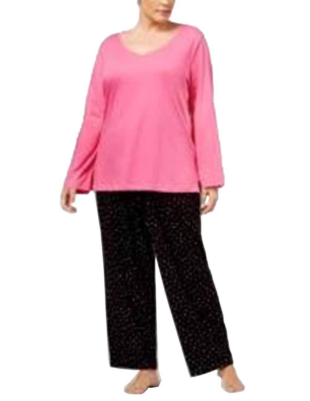 632b3a1ce7e Charter Club Plus Size Lurex-Threaded Cotton Pajama Set. Pink Black. 2X