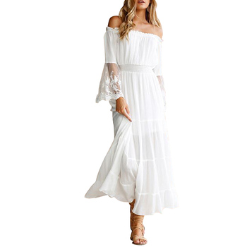 Best Quality White One Word Shoulder Lace Patchwork Sleeve Long One Piece Casual Dress