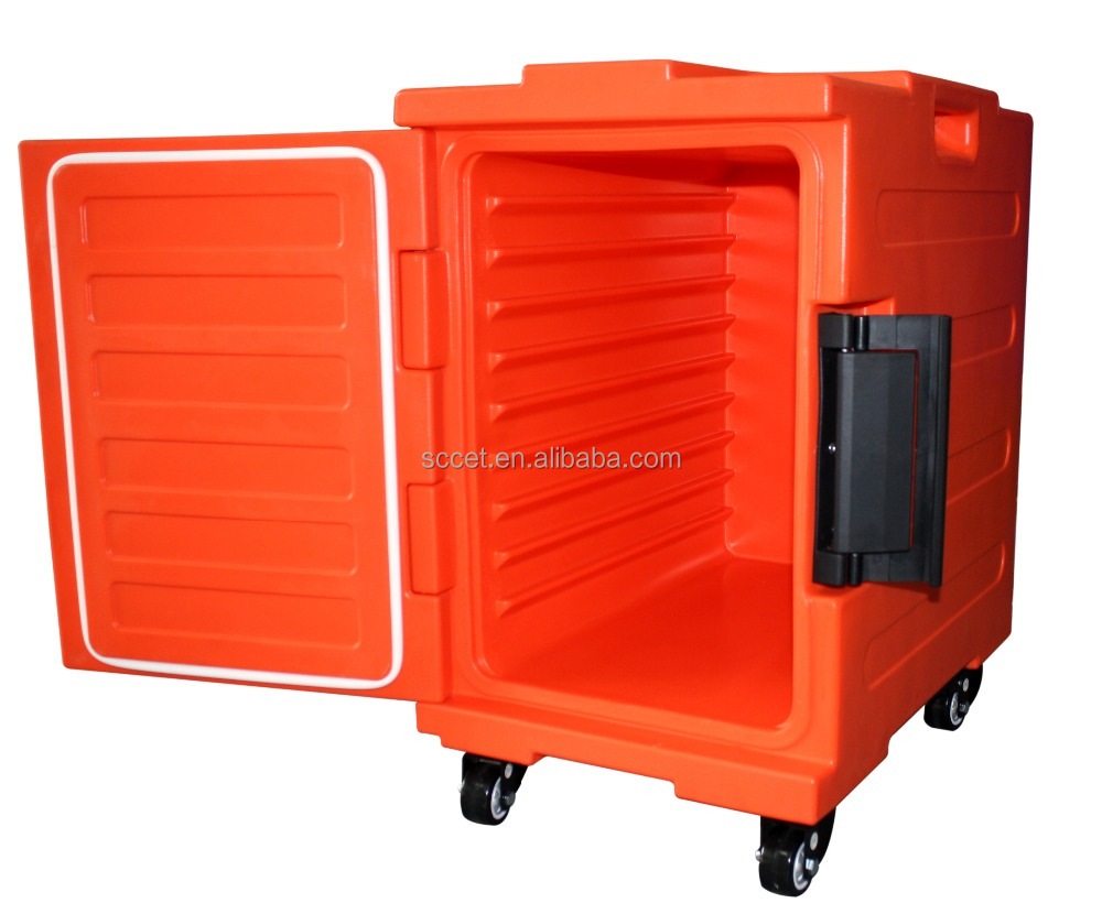 Mobile Hot food cart in catering insulated plastic hot food carrier with GN pan