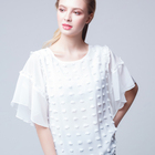 Wholesale clothing 2018 summer short sleeve lady white blouse women casual tops