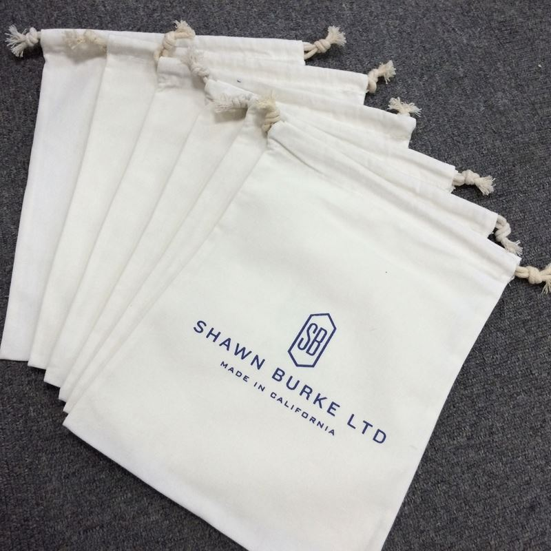 Wholesale Customized logo print small drawstring indian cotton gift bag for packaging