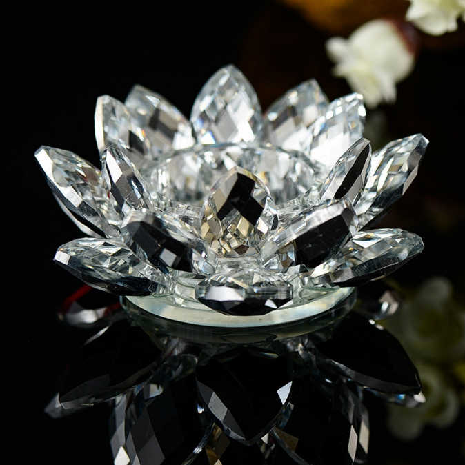 Crystal Lotus Tealight Candle Holder Glass Lotus For Weeding Home Decor Romantic