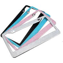 Nieuwe Auto Styling Bling Glitter Crystal Zwart Wit Zilver Blauw Auto <span class=keywords><strong>Nummerplaat</strong></span> <span class=keywords><strong>Frame</strong></span>