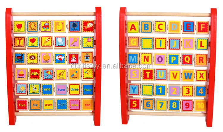 36 pcs Multifunctional learning toys alphabet phonetic frame calculator toy wooden letter image puzzle blocks for kids