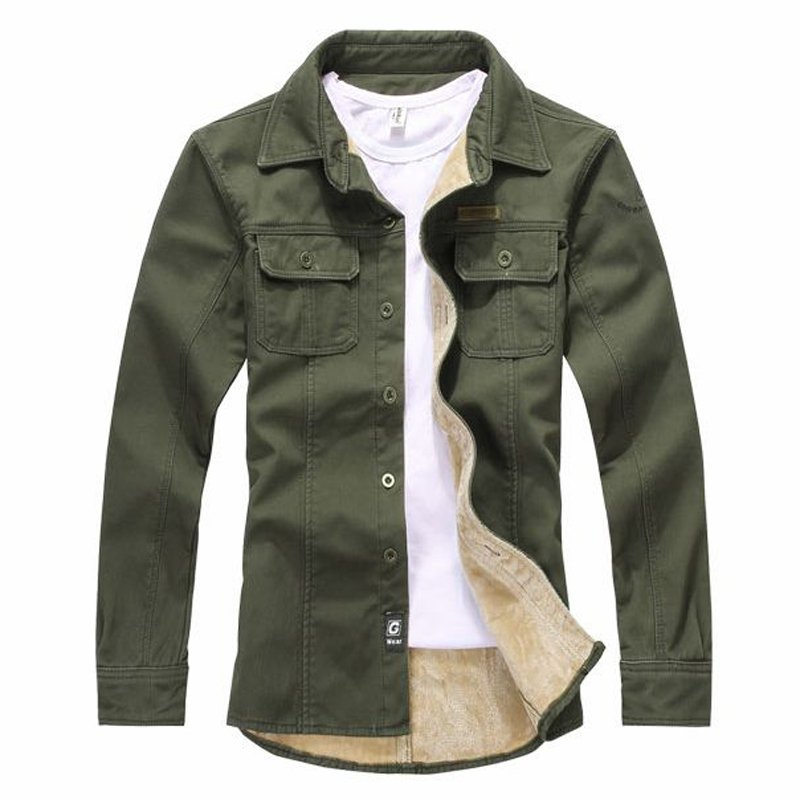 f2623a71 Get Quotations · Spring Autumn Fleece Lined Turn-down Collar Shirt Olive  Green Khaki Mens Long Sleeves Shirts