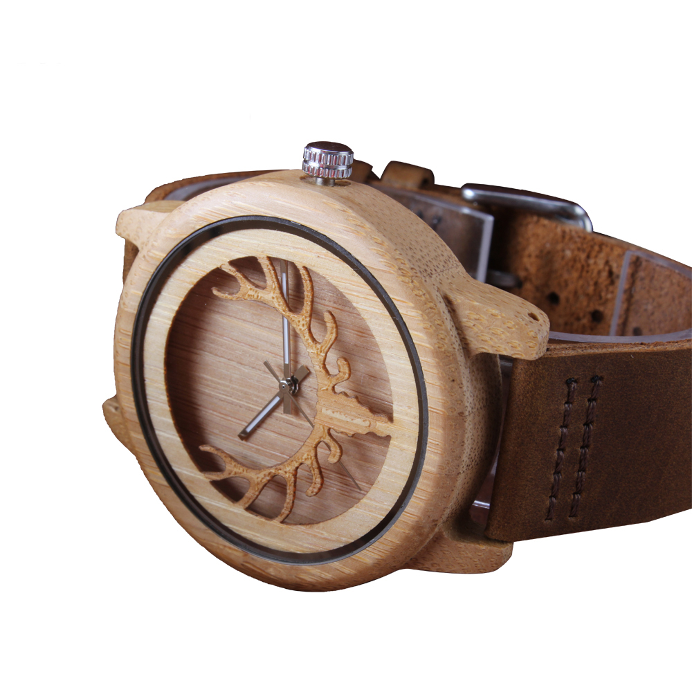 Creative Design Deer Head Face Wood Watch Custom Mens Watches With Good Quality Cowhide Leather Strap Print/Laser/Engraving Logo