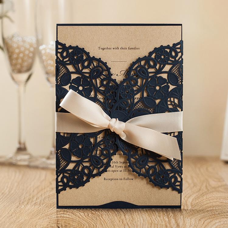 Wishmade Fábrica Elegante Corte De Láser Invitaciones De Boda Azul Marino Con Cinta A Granel árabe Tarjetas De Invitación Buy Invitaciones De Boda