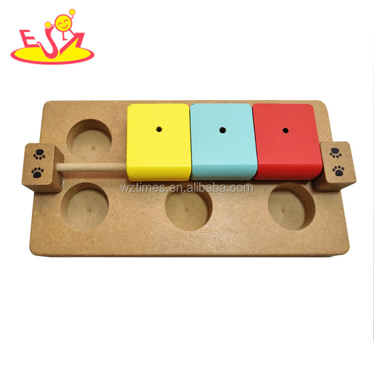 Wholesale interactive wooden pets feeder toy hide and seek wooden brain games pets feeder toy W06F042