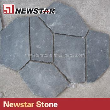 Newstar Irregular Split Black Slate Stone Blue Slate Floor Tile