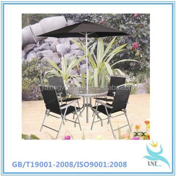 Madeira Muebles De Jardín 5 Unidades Con Mesa Parasol Y Reposapiés ...