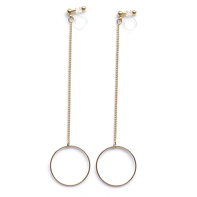 Miyabi Grace Women's Long Chain Hoops Dangle Invisible Clip On Earrings Gold tone