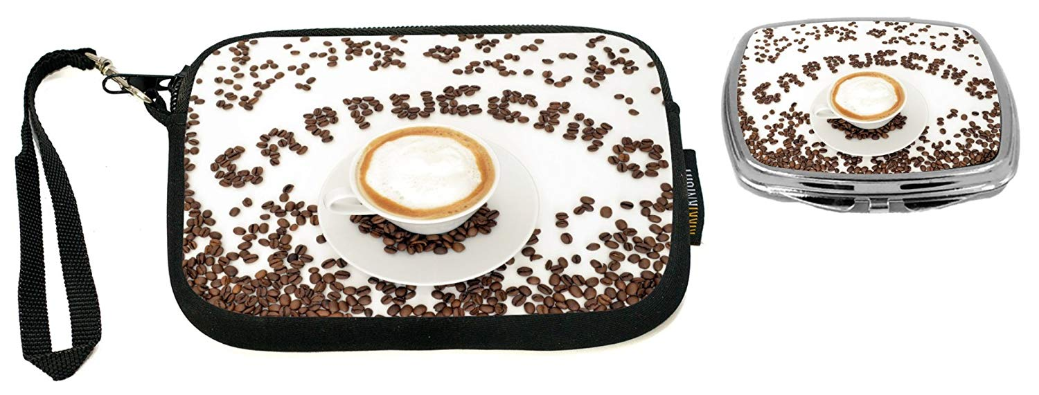 """Rikki Knight Coffee Beans""""Cappuccino"""" Design Neoprene Clutch Wristlet with Matching Square Compact Mirror"""