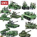 QWZ Military Series Russian Military T90 Tank Rocket Missile Launcher Building Blocks Army Soldier Vehicle Gun