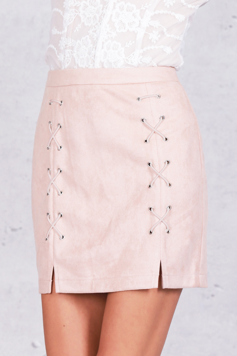 9bc997b51 2019 Wholesale Simplee Autumn Lace Up Leather Suede Pencil Skirt ...