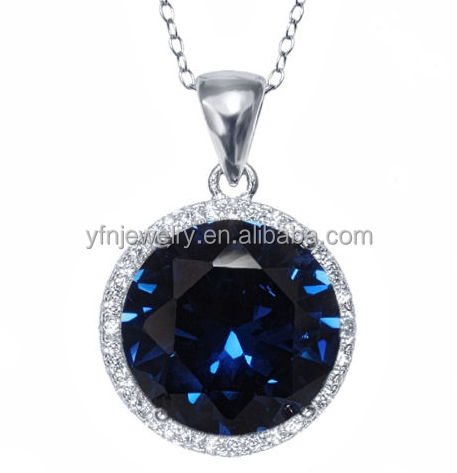 Fashion Jewelry Round Blue Sapphire Zircon 925 Sterling Silver Chain Necklace