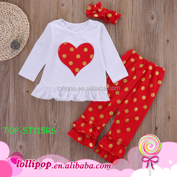 2017 Childrenu0027s Clothing Set Baby Girl Heart Shape Polka Dot Valentine  Outfit Lacha Choli Designs Pictures