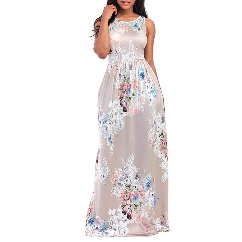 WM & MW Sexy Women Vest Dress Floral Round Neck Sleeveless Long Maxi Casual Beach Tunic Dress Sundress