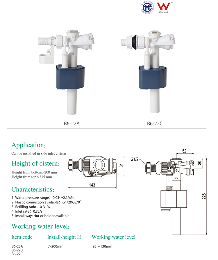 ABS high quality toilet cistern fitting flushing system
