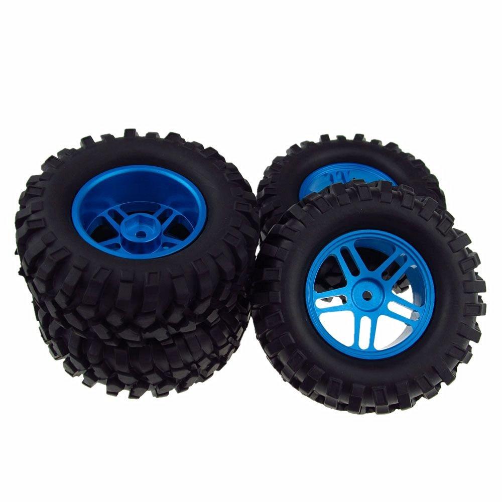 4x RC Car Wheel Rim&Tyre Tires Aluminum Double 5 Spoke for 1/10 Rock Crawler Blue