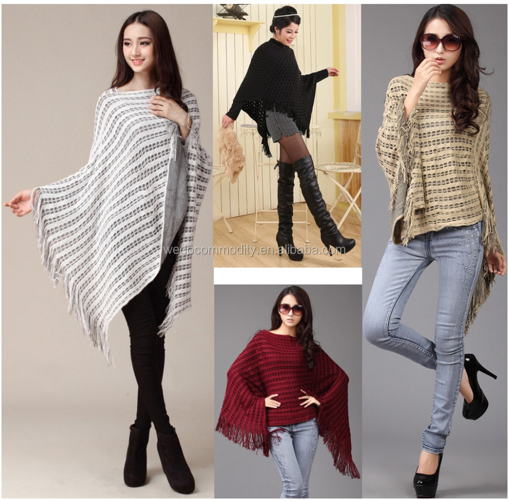 women knitting patterns bat sleeve fringe sweater