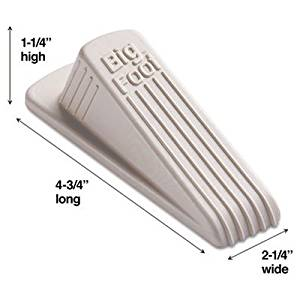 Master Caster Products - Master Caster - Big Foot Doorstop, No-Slip Rubber Wedge, 2-1/4w x 4-3/4d x 1-1/4h, Beige - Sold As 1 Each - Wedge style, nonslip rubber with extra-wide flange. - For homes and offices. - Highly-visible colors designed to prevent t