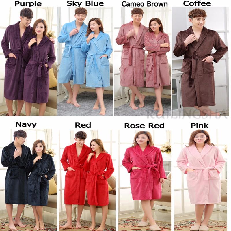 144ab856d6 2019 On Sale Men Women Luxury Winter Bathrobe Mens Warm Silk Flannel ...