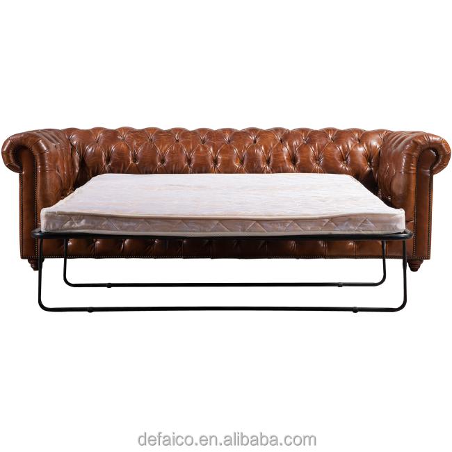 Couro chesterfield antigo do vintage sof cama dobr vel for Sofa cama vintage