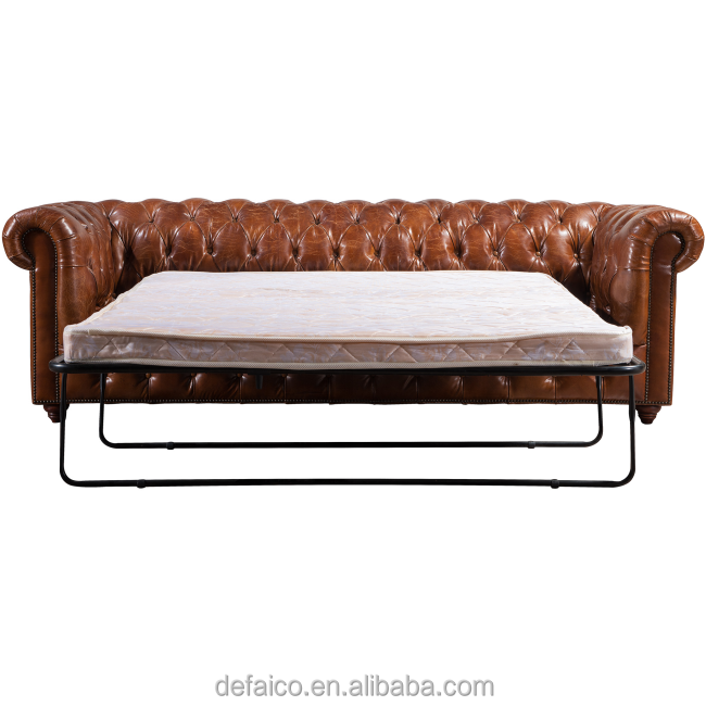 Couro chesterfield antigo do vintage sof cama dobr vel - Sofa cama chesterfield ...