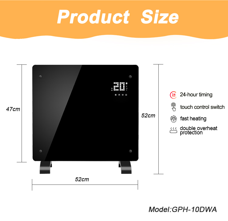 Wholesale 1000w 1500w 2000w wall glass mounted convector heater panel heater with wifi