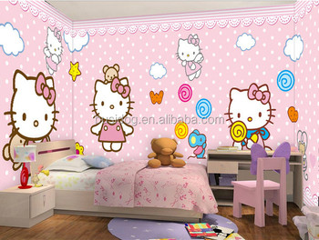 3d Cartoon Characters Hello Kitty Mural Wallpapers For Kids Room Decoration