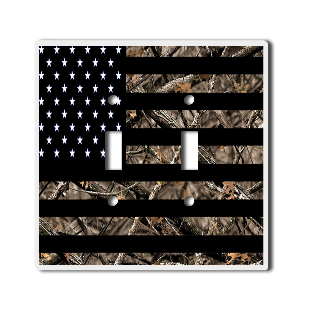 Light Switch Double Toggle Wall Plate Cover By InfoposUSA Camouflage USA flag