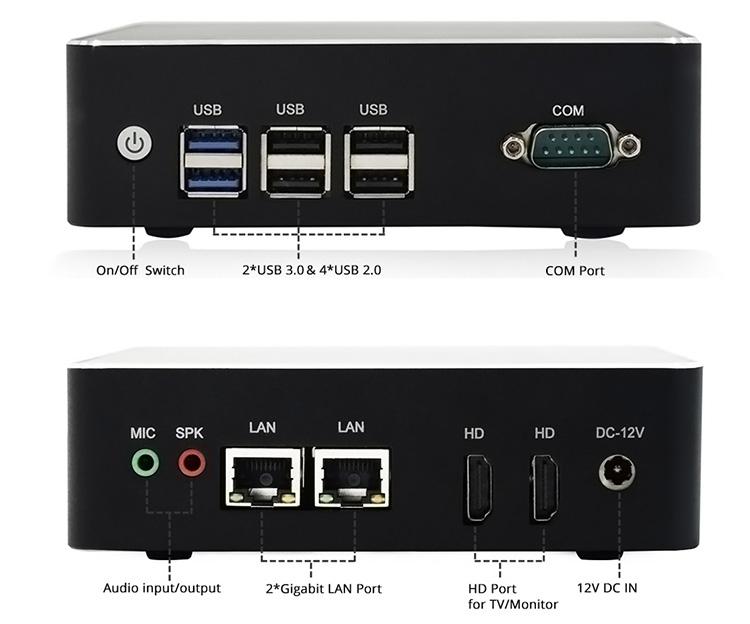 HYSTOU 新製品ミニ PC クアッドコア J3160 ファンレスコンピュータ 2 ギグ Nic デュアルディスプレイ黒銀合金ケース X86 ベアボーンキットシステム