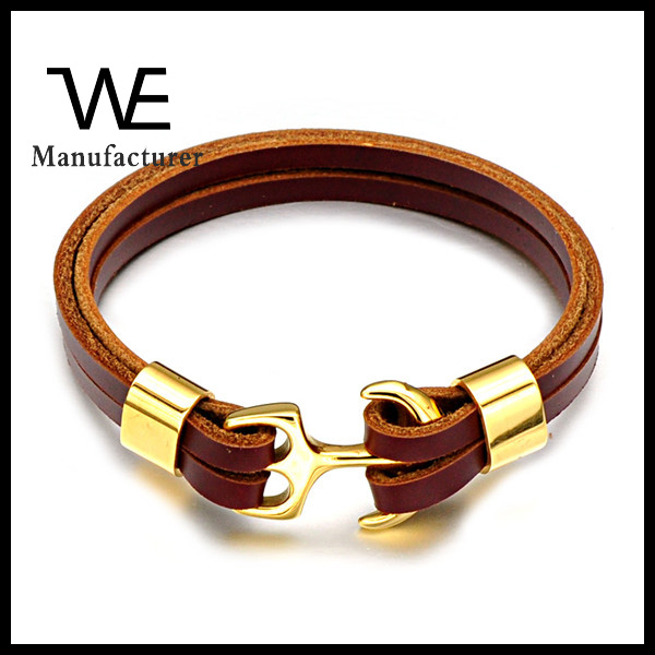 Ali Express Wholesale Fashion Jewelry Men's 316L Stainless Steel PVD Leather Bracelet Anchor Gifts