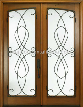 Wooden wrought iron main gate designs dj s9052w buy gate for Wooden main gate design