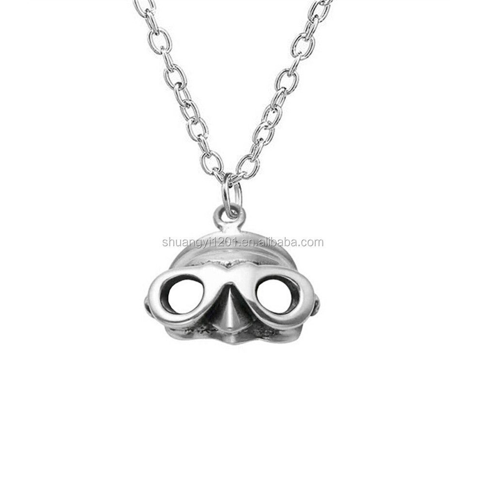 Custom Made Cheap Alloy Small Face Mask Charms Necklaces For Fashion Dress