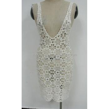 Cotton Crochet Ladies Shoulder Straps Flower Pattern Casual Dress