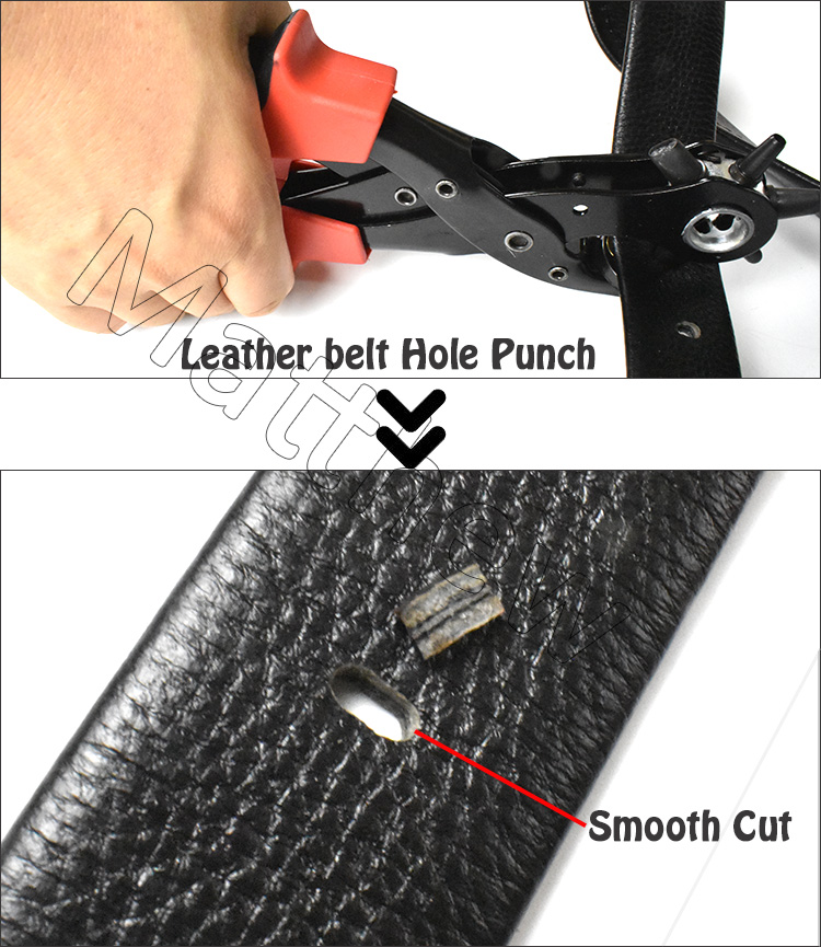 Leather Belt Hole Punch Plier with Six Different Punch Heads