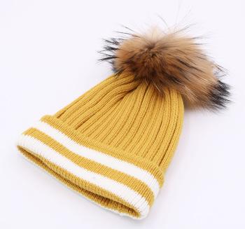 2017 New Style Women Winter Warm Knitting Beanie Hat With Fur Ball ... 6b966f285bb