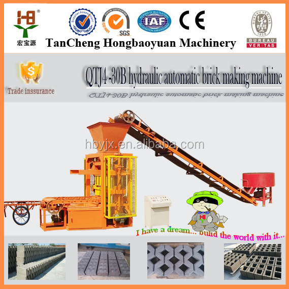 QTJ4-30B concrete bricks construction equipment for sale,small scale tile making machine,manual concrete brick making machine