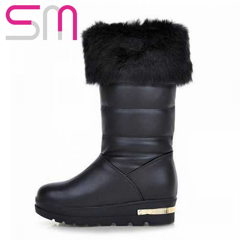 Get Quotations · 2015 Brand New Women s Winter Boots Thick Flat Sole  Fur-leaning Warm Boots Fashion Leisure 1ec5e8a797
