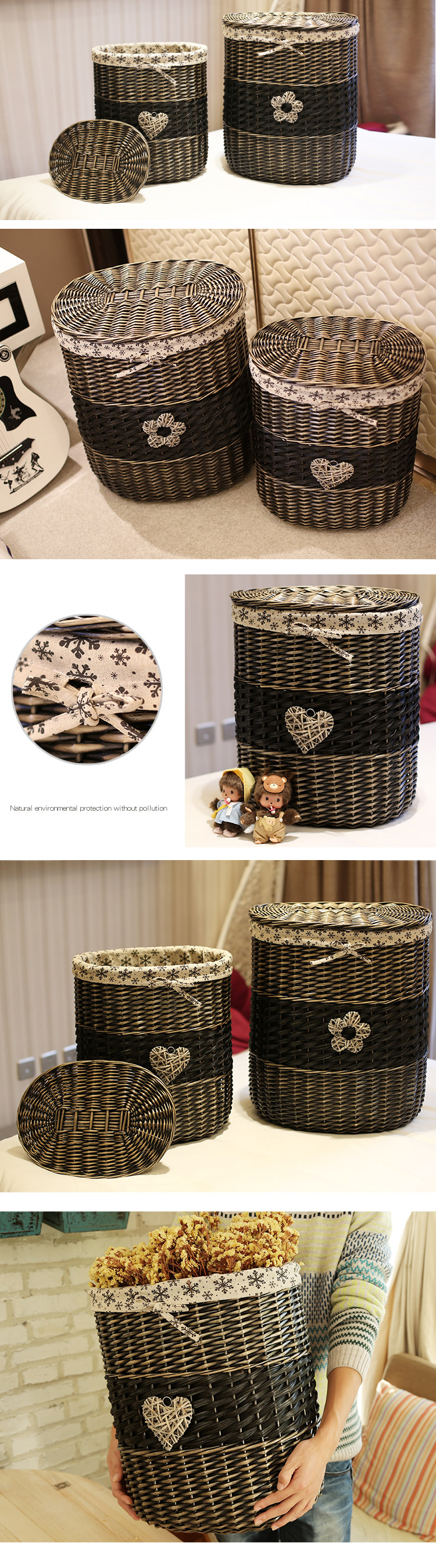 China supplier wholesale wicker laundry hamper basket with lid