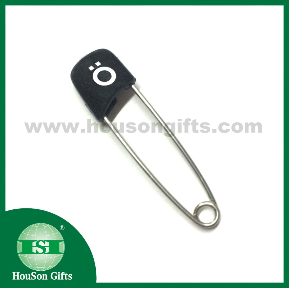 HSSP001 4cm custom logo black plastic head stainless steel safety pins