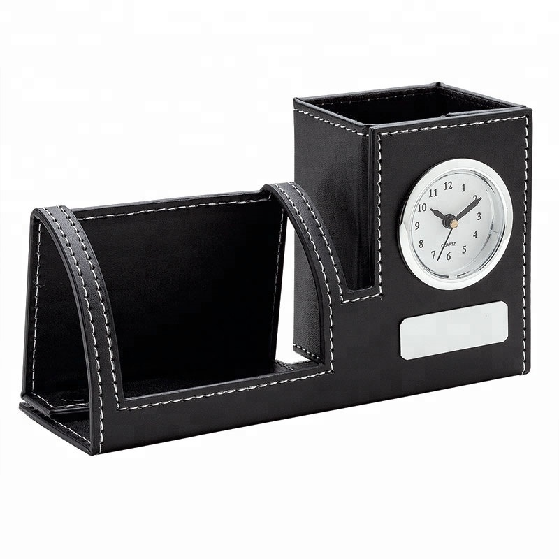 Multi-functional Foldable leather three-in-one tabletop Pen Holder stationery storage box with Electronic Clock