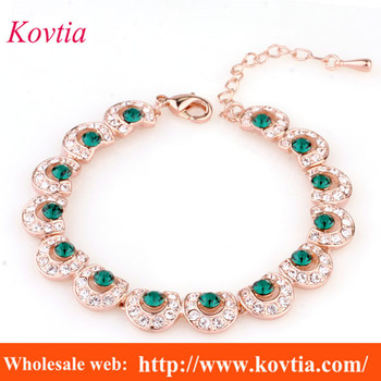 Charms Love Jewelry Bracelet Women Peacock Feather Chain Link