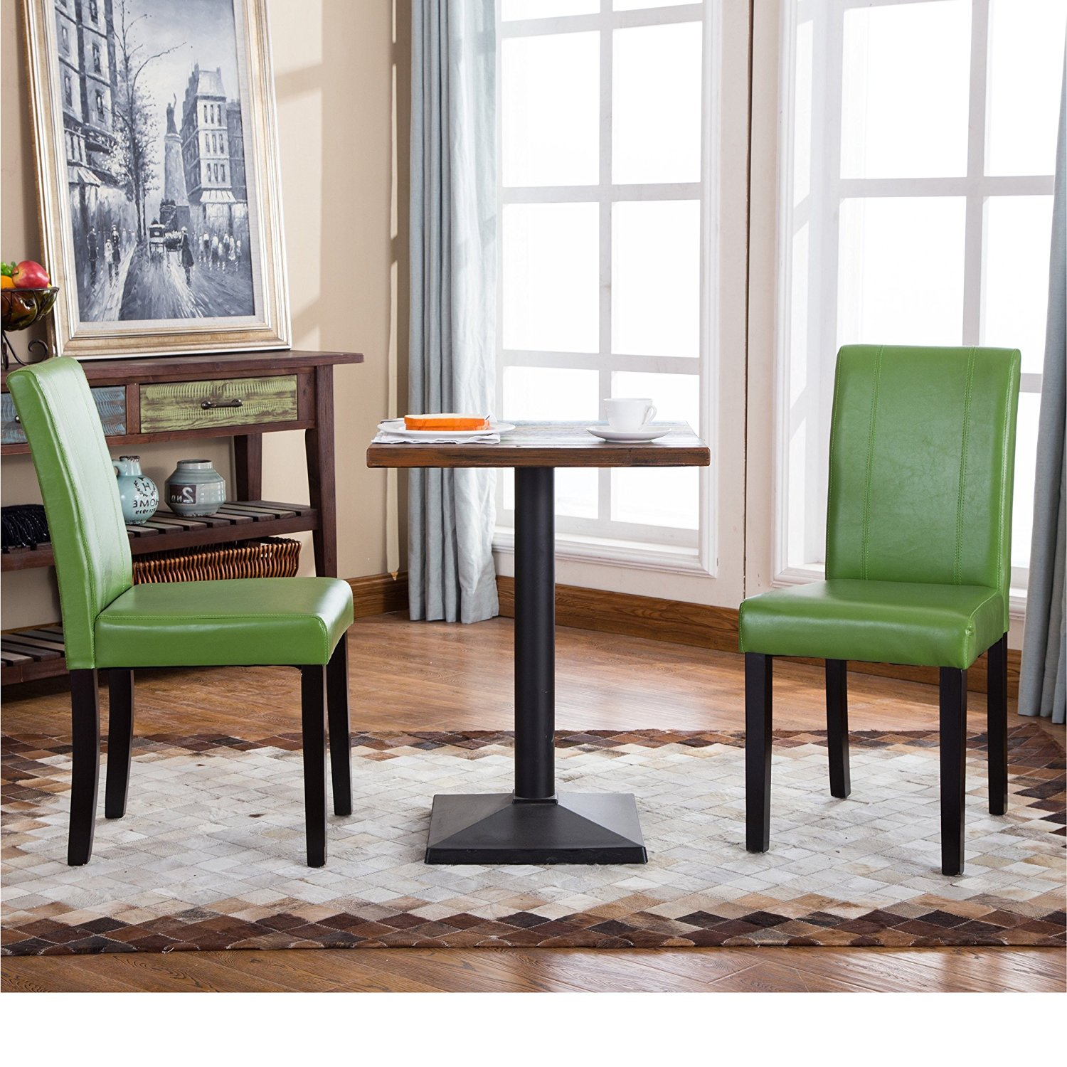 Get Quotations · 2 Piece Green Dining Chairs, Faux Leather Wood Material,  Contemporary Casual Urban Style,