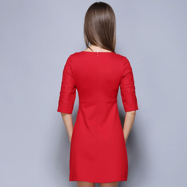 Vintage formal half sleeve A-line dress for ladies