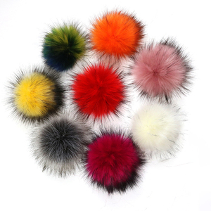 Factory wholesale faux fluffy 10cm to 13cm raccoon pompom fur pom pom for hat