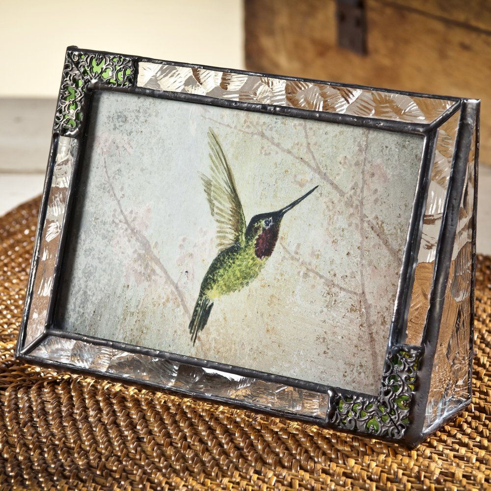 J Devlin Pic 352-46H Stained Glass Picture Frame Tabletop 4 x 6 Horizontal Photo Green with Metal Overlay Hummingbird